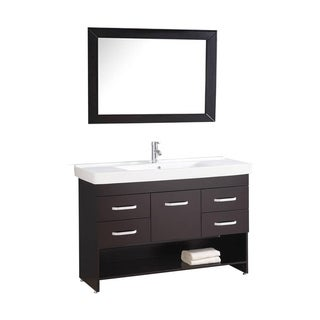 MTD Vanities Greece 48-inch Single Sink Espresso Bathroom Vanity Set with Mirror and Faucet
