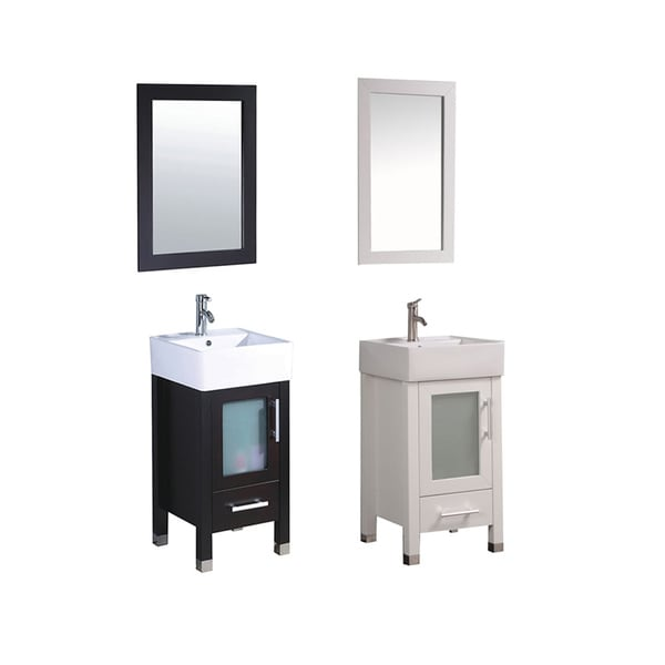Mtd Vanities Malta 18 Inch Single Sink Espresso Bathroom Vanity Set With Mirror And Faucet