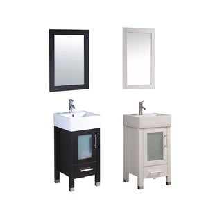 MTD Vanities Malta 18-inch Single Sink Espresso Bathroom Vanity Set with Mirror and Faucet