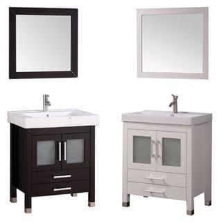 MTD Vanities Greece 30-inch Single Sink Espresso Bathroom Vanity Set with Mirror and Faucet