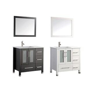 MTD Vanities Sweden 36-inch Single Sink Bathroom Vanity Set (Left Side) with Free Mirror and Faucet