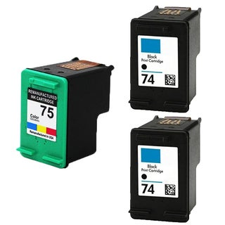 HP74 - Black HP75 - Color Compatible Inkjet Cartridge For Deskjet D4200 Officejet J5700 Photosmart C4200 (Pack of 3)