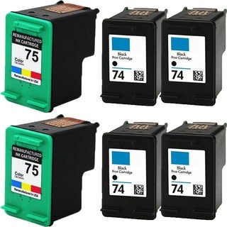 HP74 - Black HP75 - Color Compatible Inkjet Cartridge For Deskjet D4200 Officejet J5700 Photosmart C4200 (Pack of 6)