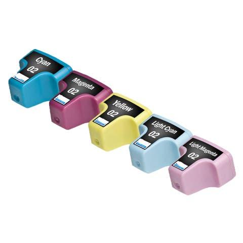 HP 02 CY C8771 HP 02 MA C8772 HP 02 YE C8773 HP 02 LC C8774 HP 02 LM C8775 Compatible Inkjet Cartridge (Pack of 5)