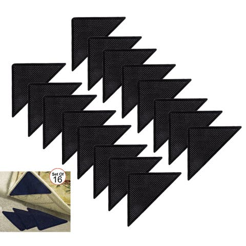 As Seen On TV Reusable Corner Area Carpet Rug Grippers - Rubber Anti Curling Non Slip Skid Pads -16pc Set - Black