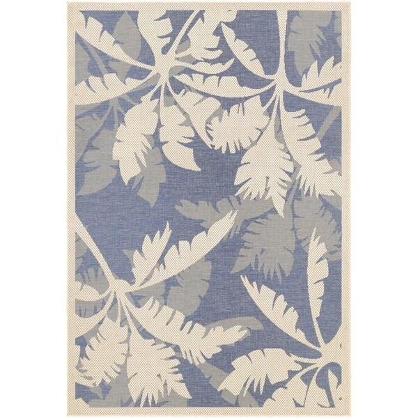 "Couristan Monaco Coastal Flora/ Ivory and Sapphire Rug - 7'6"" x 10'9"""