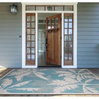 Samantha Bal Harbor/Turquoise- Ivory Indoor/Outdoor Rug - 7'6 x 10'9