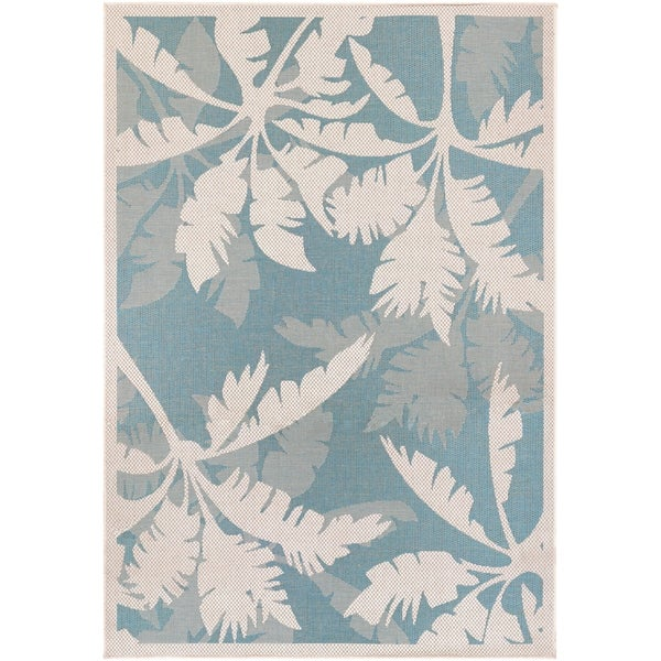 "Samantha Bal Harbor Ivory-Turquoise Indoor/Outdoor Area Rug - 7'6"" x 10'9"""