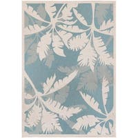 "Samantha Bal Harbor Ivory-Turquoise Indoor/Outdoor Area Rug - 8'6"" x 13'"