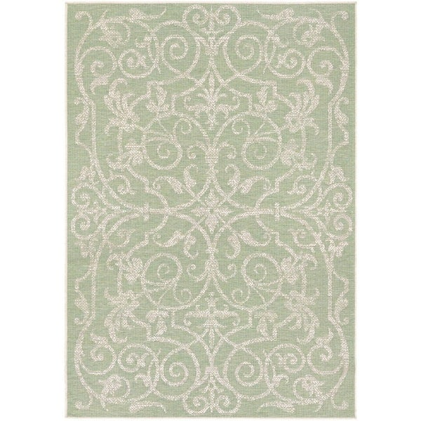 "Couristan Monaco Summer Quay/ Ivory-lt Green Rug - 7'6"" x 10'9"""