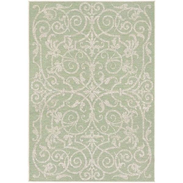 Couristan Monaco Summer Quay/ Ivory and Light Green Rug - 8'6 x 13'