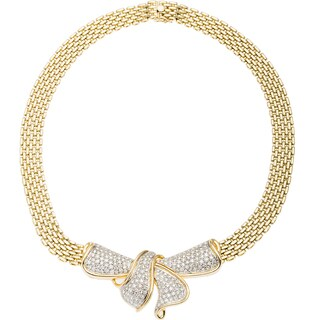 14k Yellow Gold 5ct TDW Large Diamond Crusted Bow Estate Necklace (H-I, SI1-SI2)
