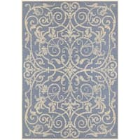 Couristan Monaco Summer Quay Ivory- Sapphire Indoor/Outdoor Rug - 8'6 x 13'