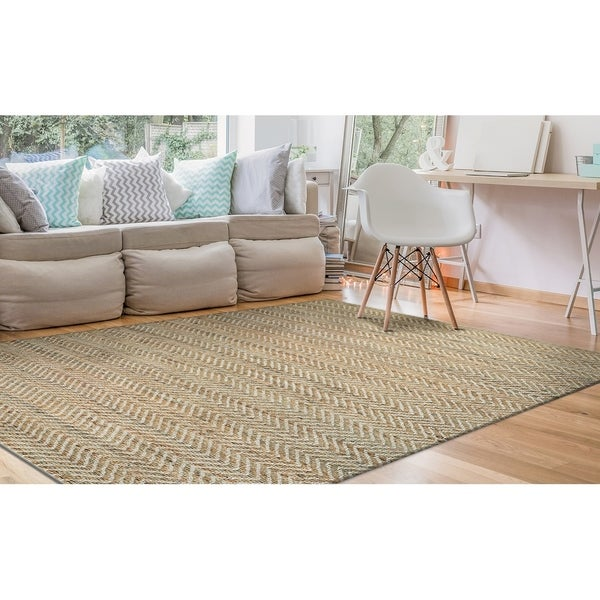 """Hand-Loomed Green Leaves Elevation Natural-Tan Area Rug - 7'10"""" x 10'10"""""""
