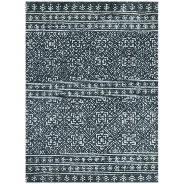 Feza FEZ 5 Dark Grey Colored Rug (5' x 8') - 5' x 8'