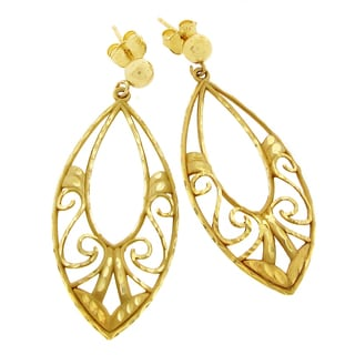 14k Yellow Gold Diamond Cut Tear Drop Filigree Earrings