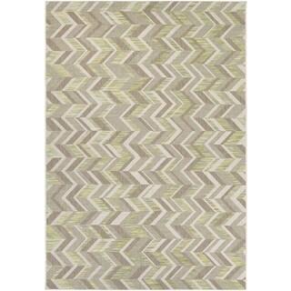Couristan Tides Shelter Island/ Lemon Grass-Grey Rug (7'10 x 10'10)