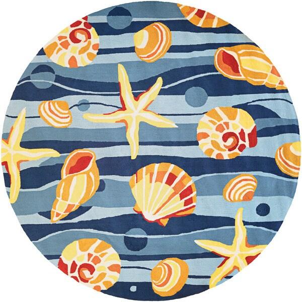Couristan Beachfront Gold Beach/ Azure-navy-citrus Rug (8')