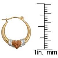 Decadence 14k Three-tone Gold Heart Hoop Earrings