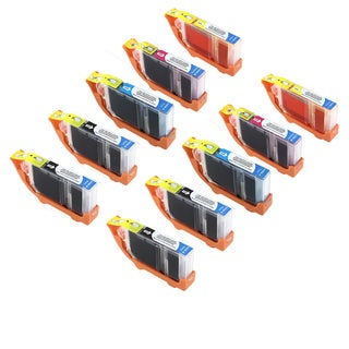 Canon CAN-CLI-8Y X2 CAN-CLI-8M X2 CAN-CLI-8C X2 CAN-CLI-8BK X4 Compatible Inkjet Cartridge PIXMA IP4200 6600D (Pack of 10)