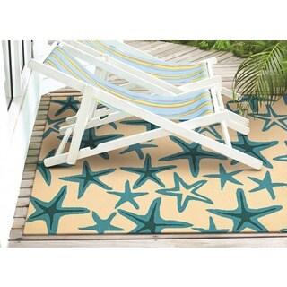 Couristan Beachfront Starfish/ Ivory-azure Rug (7'10 Round)