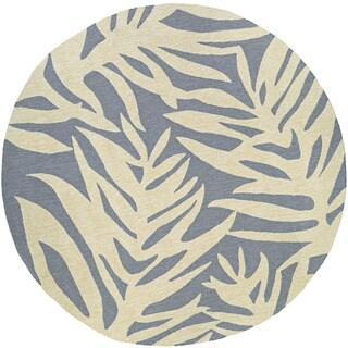 Couristan Covington Palms Azure Round Indoor/Outdoor Rug - 7'10 x 7'10