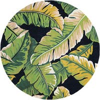 Couristan Covington Rainforest Forest Green-Black Indoor/Outdoor Round Rug - 7'10 x 7'10