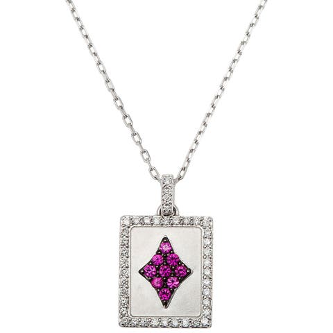 18k White Gold 1/4ct TDW Ace of Diamonds Ruby Estate Necklace (G-H, SI1-SI2)