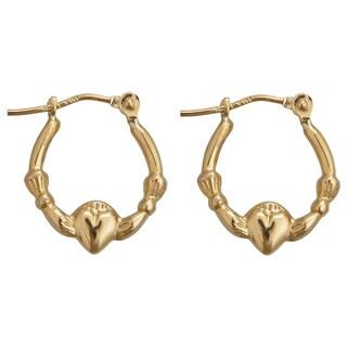 Decadence 14k Yellow Gold Claddagh Hoop Earrings