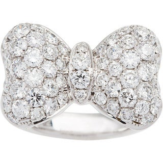 18k White Gold 2 1/2ct TDW Pave Diamond Bow Tie Estate Ring (G-H, VS1-VS2) (Size 6.25)