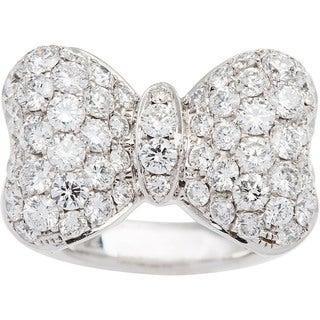 18k White Gold 2 1/2ct TDW Pave Diamond Bow Tie Estate Ring (G-H, VS1-VS2) (Size 6.25)