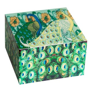 Screen Printed Square Peacock Keepsakes Box (India)