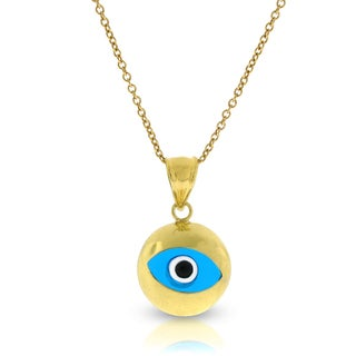 14k Gold High Polish Blue Evil Eye Good Luck Chain and Pendant