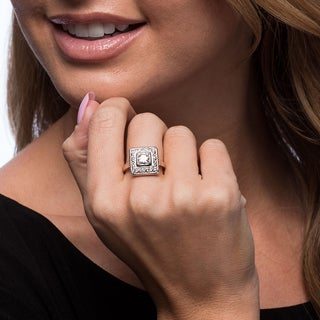 Platinum 1 1/10ct TDW Diamond Square Top Cluster Estate Ring (G-H, VS1-VS2) (Size 7.75)