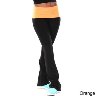 White Mark Women's Two Color Yoga Pants (Option: Black/Neon Orange Yoga Pants-S)