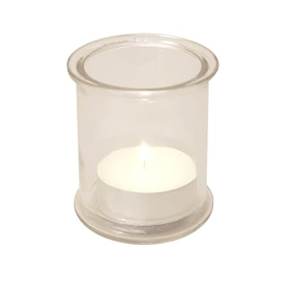 Pack of Four (4) Glass Candle Holders with 12 Mega Citronella Tea Light Candles