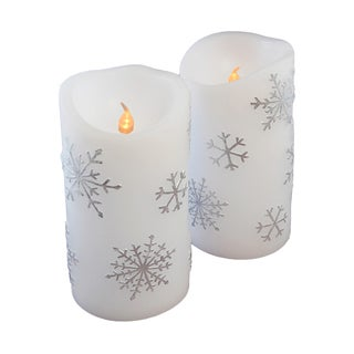 Snowflake Flickering Battery Operated LED Candles (Set of 2)