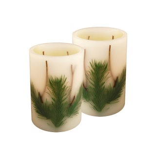 Pine Needle Flickering Battery Operated LED Candles (Set of 2)