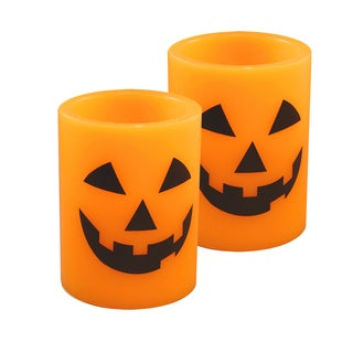 Jack O' Lantern Flickering Battery Operated LED Candles (Set of 2)