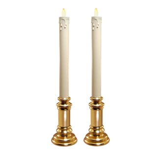 Action Flame LED Taper Candles with Holder (Set of 2)