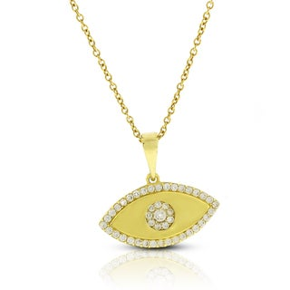 14k Gold Cubic Zirconia Evil Eye Good Luck Chain and Pendant