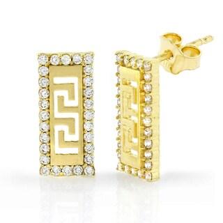 14k Yellow Gold Cubic Zirconia Greek Key Rectangle Stud Earrings