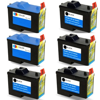 Dell 7Y743 (X0502) 7Y745 (X0504) Black and Color Compatible Inkjet Cartridge For A940 A960 (Pack of 6)