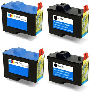 Dell 7Y743 (X0502) 7Y745 (X0504) Black and Color Compatible Inkjet Cartridge For A940 A960 (Pack of 4)