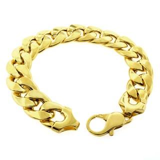 Goldplated Sterling Silver 15.5mm Hollow Cuban Link Bracelet