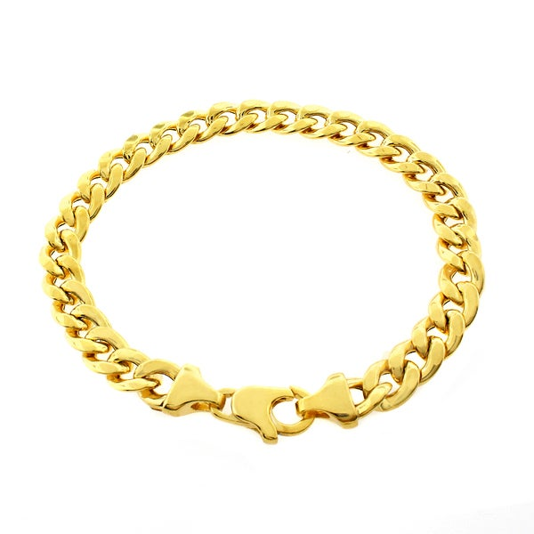 9b8a64daf Shop Goldplated Sterling Silver 8Mm Hollow Cuban Link Bracelet - Free  Shipping Today - Overstock - 10428838