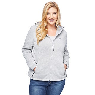 Champion Women's Plus Hooded Sweater Knit with Faux Teddy Sherpa