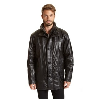Excelled Men's Leather Car Coat (Tall Sizes)