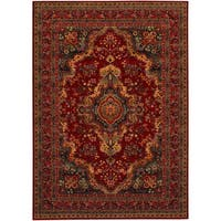 "Old World Classics Kerman Medallion Burgundy Wool Rug - 9'10"" x 13'9"""