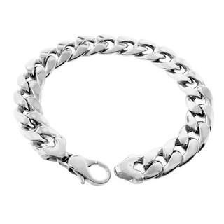Rhodium-plated Sterling Silver 10mm Hollow Cuban Link Bracelet